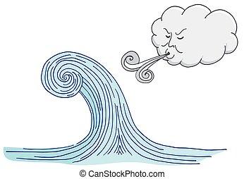 soprando, onda, ventoso, tidal, caricatura, nuvem