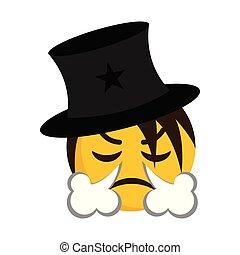 soprando, zangado, nariz, mágico, seu, vento, emoji