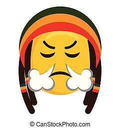 soprando, zangado, nariz, seu, vento, emoji