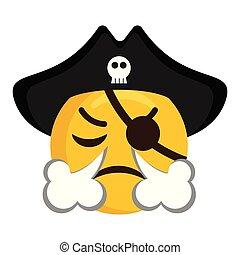 soprando, zangado, seu, nariz, pirata, vento, emoji