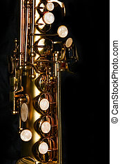 soprano saxophone on black background