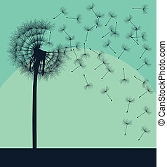 sopro, conceito, dandelion, vindima, vetorial, fundo