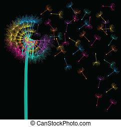 sopro, conceito, fundo, vetorial, dandelion