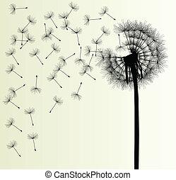 sopro, vetorial, fundo, dandelion