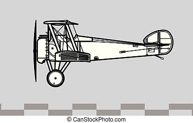 Sopwith Camel. Outline vector drawing