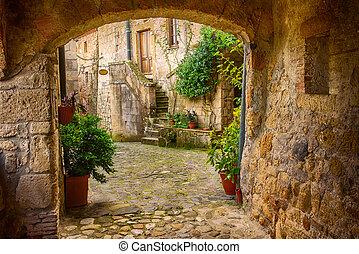 Sorano city street - Narrow street of medieval tuff city...
