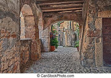 Sorano, Grosseto, Tuscany, Italy: picturesque old narrow alley with underpass, ancient houses, plants and flowers in the medieval village
