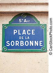 sorbonne, sinal rua, em, paris