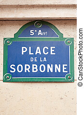 sorbonne, straßenschild, in, paris