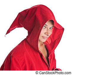 Sorcerer - Girl sorcerer wearing red robe isolated on white