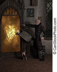 Sorcerer Opening a Magic Portal - Fantasy illustration of a...
