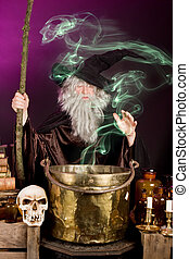 Sorcerer's ghost - Green ghost leaving the cooking pot of a ...