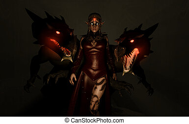 Sorceress and Dragons - quality 3d illustration of a elven...