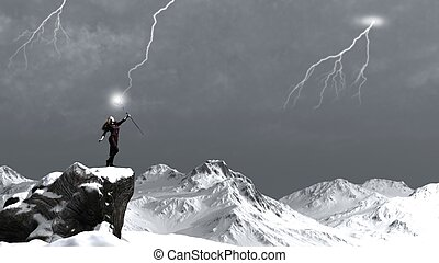 Sorceress Calling the Lightning - Fantasy sorceress on a...