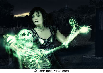 Sorceress casting spells on skeleton. Halloween art design.
