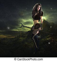 Sorceress Standing - Sorceress standing holding a lantern...