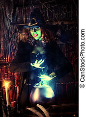 sorceress - Fairy wicked witch in the wizarding lair. Magic....
