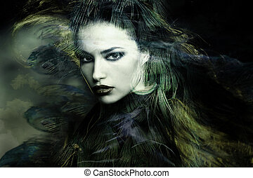 sorceress - beautiful sorceress woman double exposure...