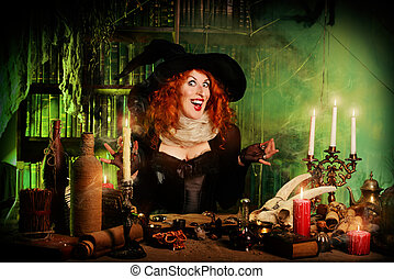 sorcery woman - Attractive witch in the wizarding lair....