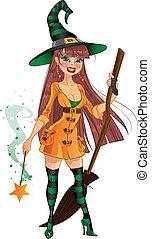 sorcière, à, baguette magique