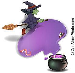 sorcière, équitation, pot, balai