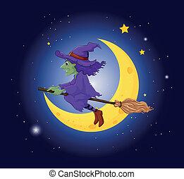 sorcière, balai, chapeau, équitation, violet