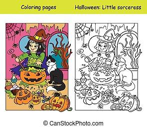 sorcière, chat, exemple, coloré, coloration