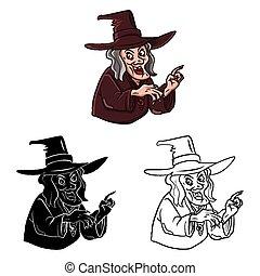 sorcière, coloration, caractère, livre