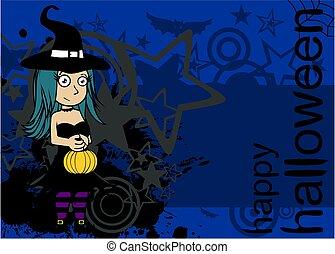 sorcière, fond, joli, cartoon1, halloween, kawaii