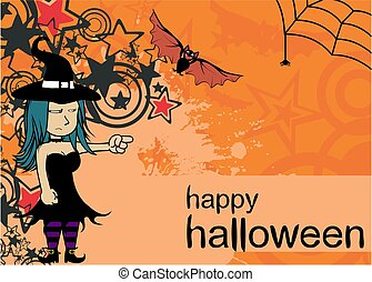 sorcière, fond, joli, cartoon4, halloween, kawaii