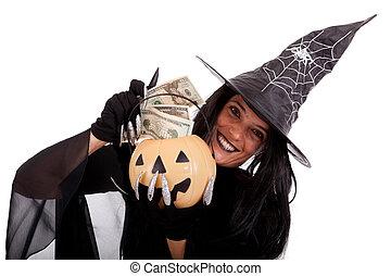 sorcière, halloween, argent, économie