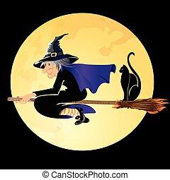 sorcière halloween, chat