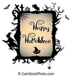sorcière, halloween, fond