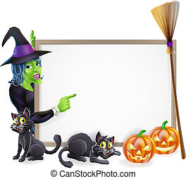 sorcière halloween, fond, signe
