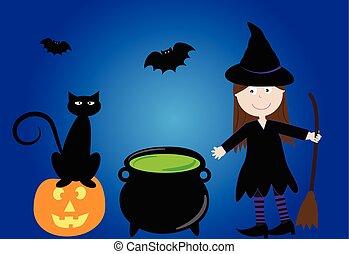 sorcière halloween, heureux