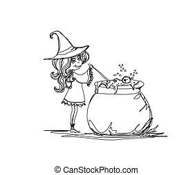 sorcière, halloween, préparer, potion