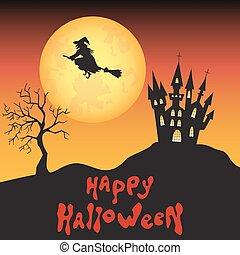 sorcière, lune, fond, castle., halloween