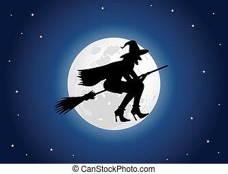 sorcière, lune