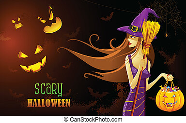 sorcière, nuit halloween
