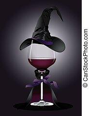 sorcière, verre vin, déguisement