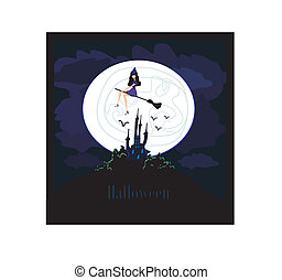 sorcière, voler, moonlight., balai