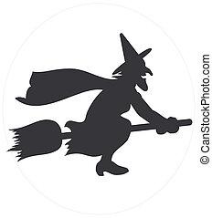 sorcière, voler, silhouette