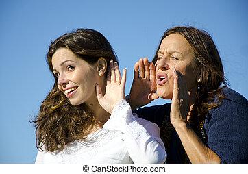 sordo, dos,  maby, gritos, amigos, Escuchar, generaciones