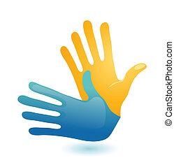 sordo, gesto mano, idioma, símbolo., dos, vector, brazos,...