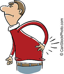 Sore Back - A cartoon man grimaces from the pain in his...