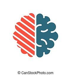 Sore human brain colored icon. Cerebral edema, infected ...