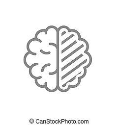 Sore human brain line icon. Cerebral edema, infected organ, ...