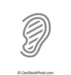 Sore human ear line icon. Hearing organ illness, misophonia symbol and sign illustration design. Isolated on white background