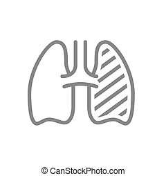 Sore human lung line icon. Respiratory illness, infected ...