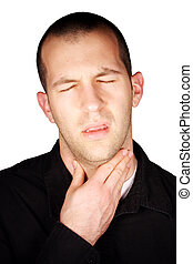 Sore Throat - A man with a sore throat in front of a white...